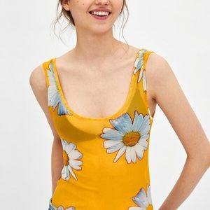 🆕🌼Zara Floral Daisy Sheer Bodysuit